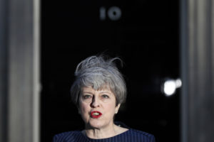 Britain's Prime Minister Theresa May speaks to the media outside 10 Downing Street, in central London, Britain April 18, 2017. British Prime Minister Theresa May called on Tuesday for an early election on June 8, saying the government had the right plan for negotiating the terms of Britain's exit from the European Union and she needed political unity in London. REUTERS/Stefan Wermuth - RTS12QWM