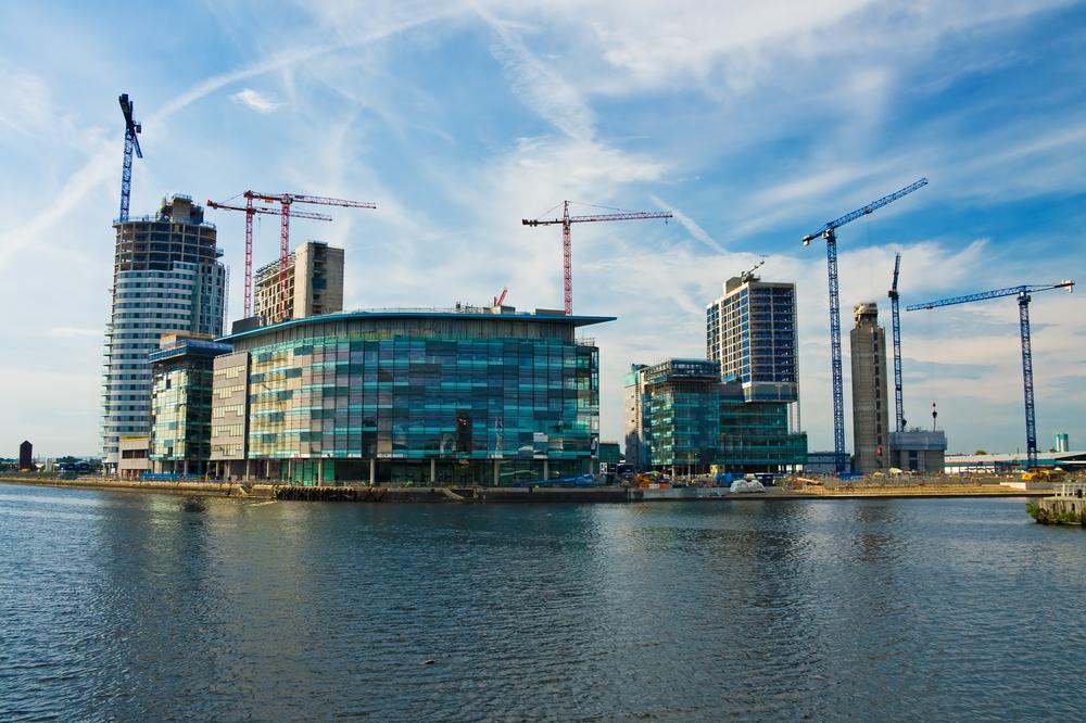 Salford, het business district van Manchester blijft één grote bouwwerf.